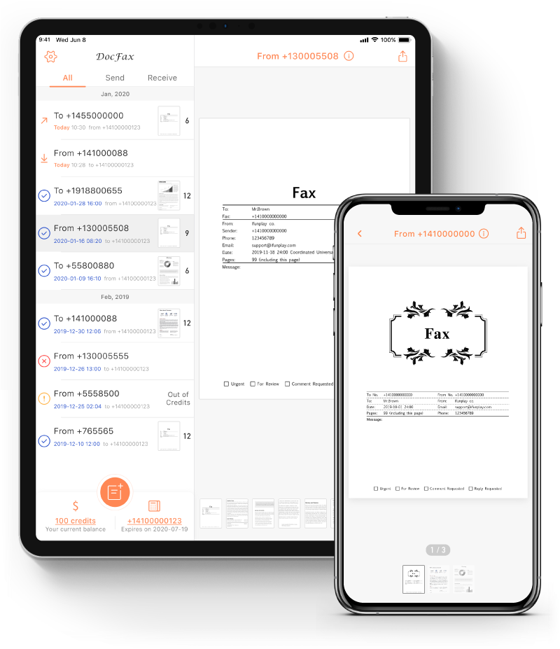 fax app receive fax and track status